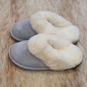 Step Into My World Gray-Blue Sheepskin Slippers
